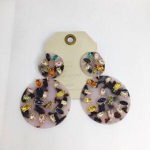 NWT Anthropologie Multicolor Resin Drop Earrings